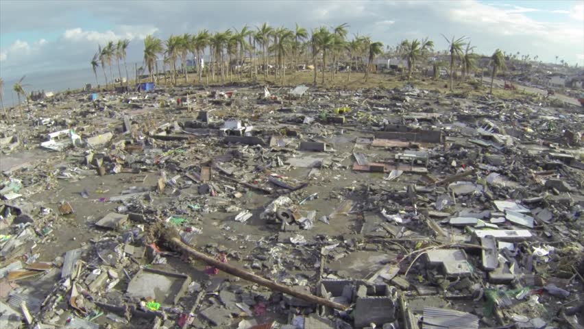 Hurricane typhoon Haiyan aftermath drone at Tacloban | Shutterstock HD Video #28821682