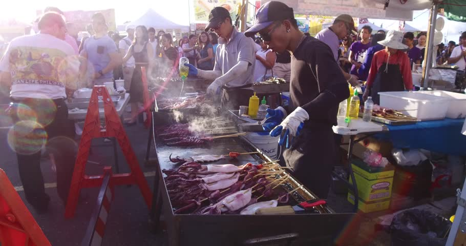 Markham, Ontario, Canada July 2017 Chinese Asian market crowded with people on warm sunny summer day  #28836712