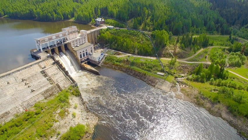 copter aerial view of hydroelectric power station in summer day #28861165