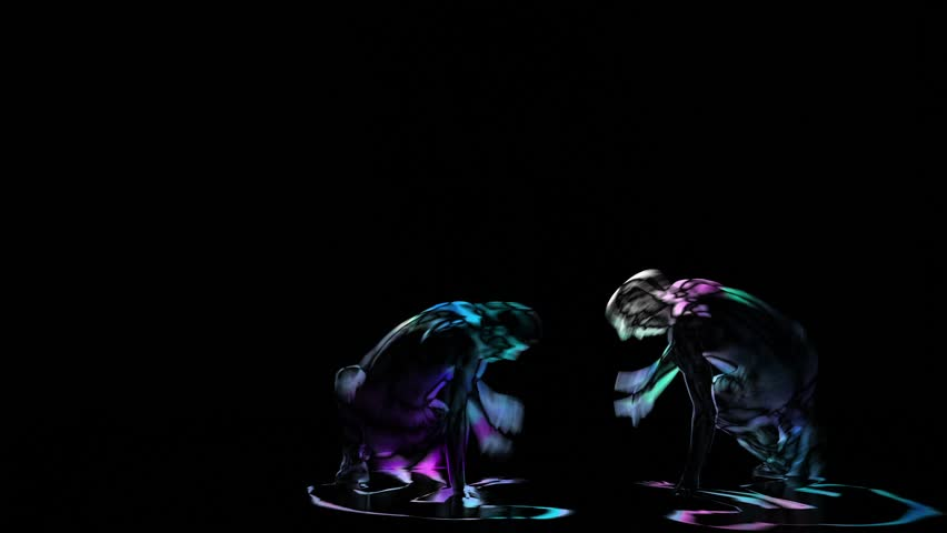 Computer graphics, silhouette two mans perform brakedance on black background
