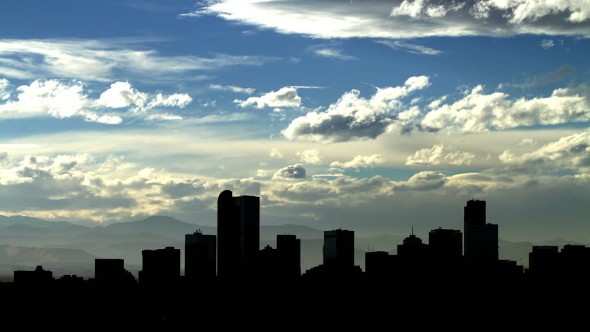 Denver Skyline at Dusk, with fascinating clouds. HD 1080p timelapse.