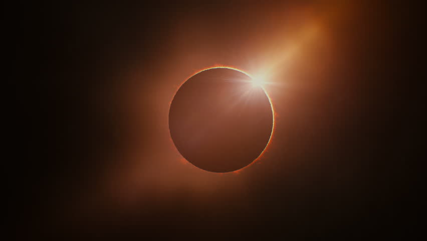 Full solar eclipse. The Moon mostly covers the visible Sun creating a ring of fire. This astronomical phenomenon can be seen as a sign of the End of the World.