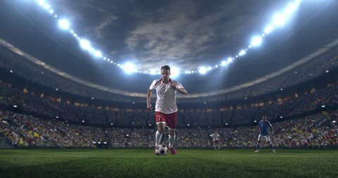 Soccer player performs outstanding play during a soccer game on a professional outdoor soccer stadium. Player wears unbranded uniform. Stadium and crowd are made in 3D.