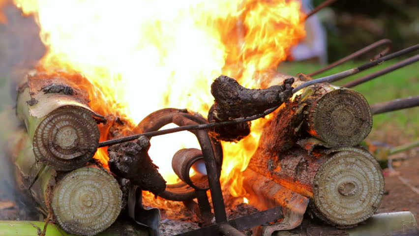 A Burning Dead Body In Balinese Funeral, Bali, Indonesia ...