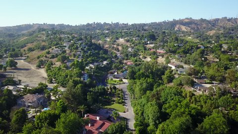 Flying over Los Angeles county suburbs