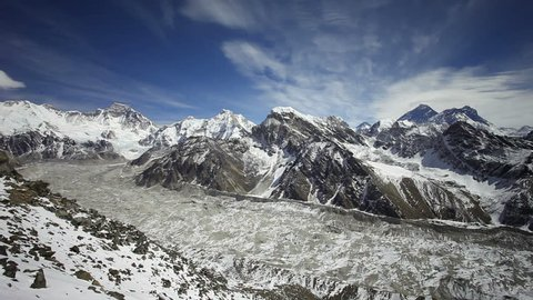 Timelapse aerial panoramic view from Kala Patthar to Everest region in Himalaya, Nepal