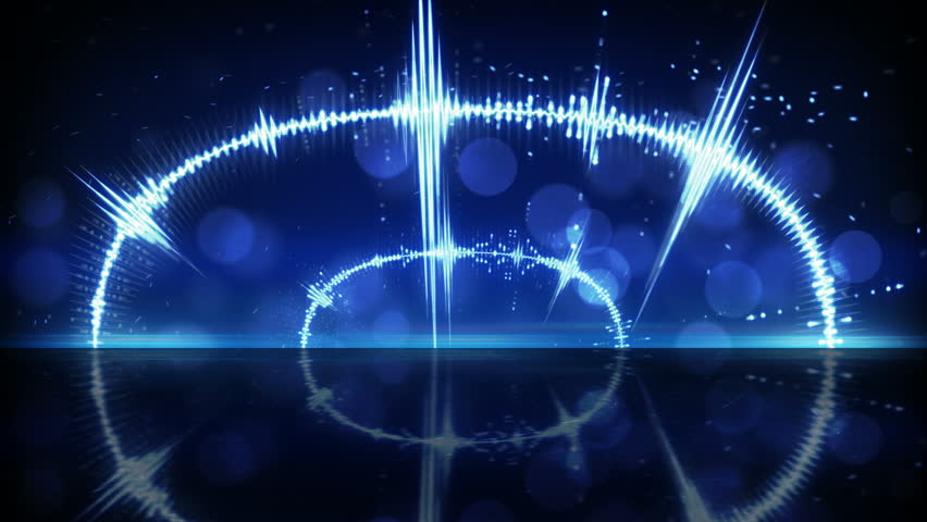 Blue audio waveform. Computer generated seamless loop technology motion background 4k (4096x2304)