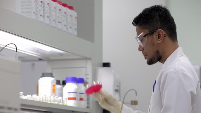 KUALA LUMPUR, MALAYSIA - JULY 19, 2017: A muslim male scientist in the laboratory at his university -International Islamic University Malaysia (IIUM).