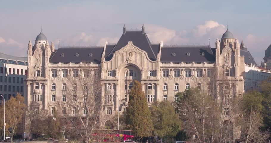 Aerial view of Budapest  - Gresham Palace - Palota