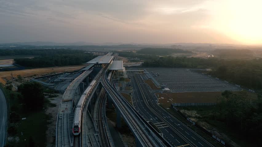 KUALA LUMPUR, MALAYSIA - JULY 18, 2017 : MRT (MASS Rapid Transit) Station in Kwasa Damansara, Malaysia, MRT is new public transport for everyone.