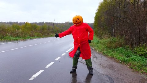 Jack Pumpkinhead in bright red raincoat hitching at empty rural road, then go forward. Wet autumn weather, freaky man performance at lonely place. Guy wear carved pumpkin on head, Halloween costume