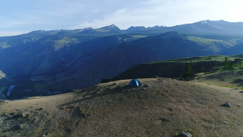 Camping tent on the top of the mountain. aerial slow motion 4k, | Shutterstock HD Video #28976842