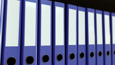 Row of violet office binders. Business, paperwork, data storage concepts. Loopable motion background