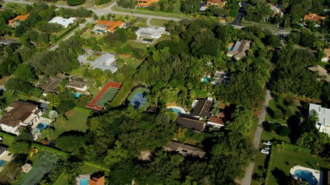Aerial suburban view of luxury exclusive residential properties Biscayne Bay Miami Florida USA RED EPIC