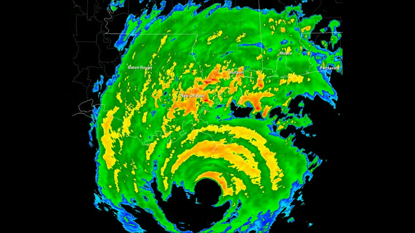 Hurricane Katrina (2005) Landfall Doppler Radar Time Lapse / loop. Created (in part) using archived NEXRAD Data from the National Weather Service which is not subject to copyright protection. | Shutterstock HD Video #2901622