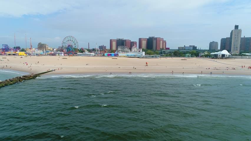 Low drone aerial video Brighton Beach Coney Island New York 4k 60p