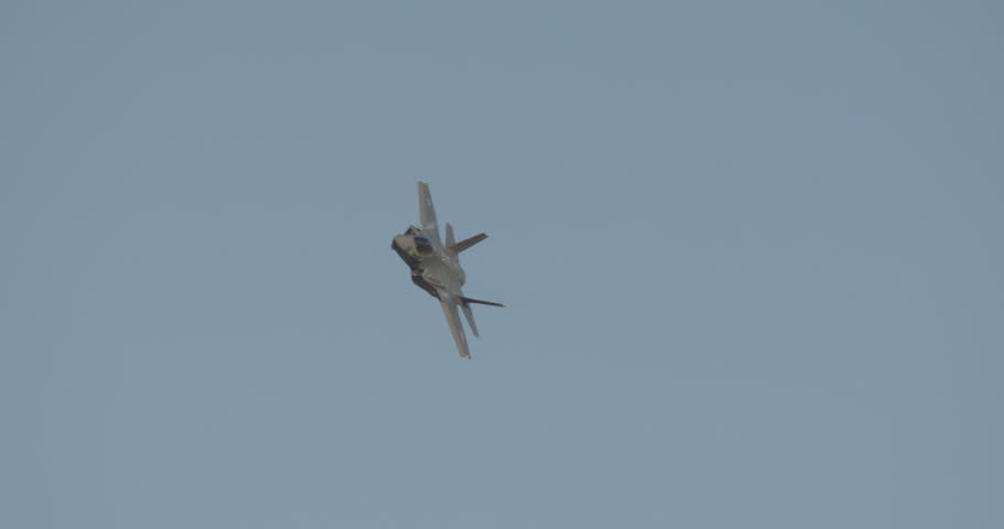 BEER SHEVA, ISRAEL. JUNE 29 2017. Israeli Air force F-35 fighter performing maneuvers over an Air Force base.