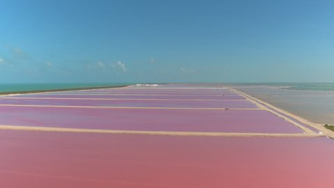 AERIAL: Flying above the stunning pink lakes of Las Coloradas, Yucatan. Spectacular colorful salt basins extending across the scenic coast of the Gulf of Mexico. Ocean surrounding beautiful salterns