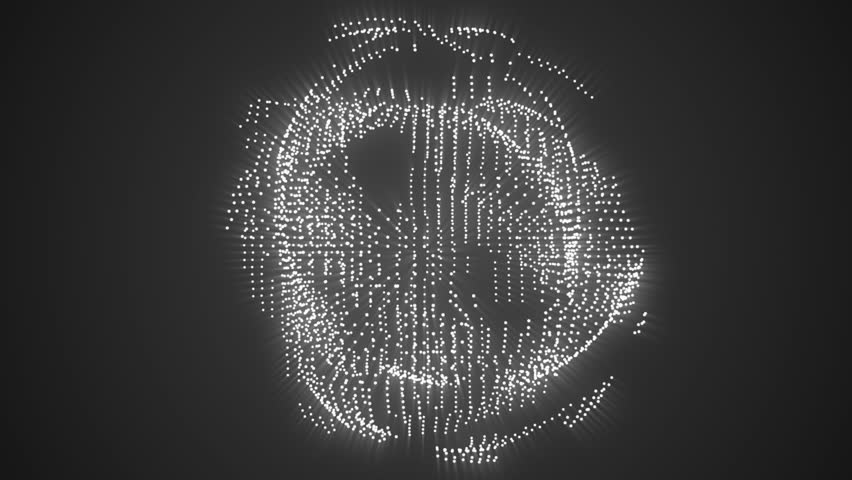 Abstract science fiction technical orb motion background white loop