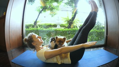 Funny Yoga With Pets. Woman Doing Yoga With Her Dogs. HD, 1920x1080.