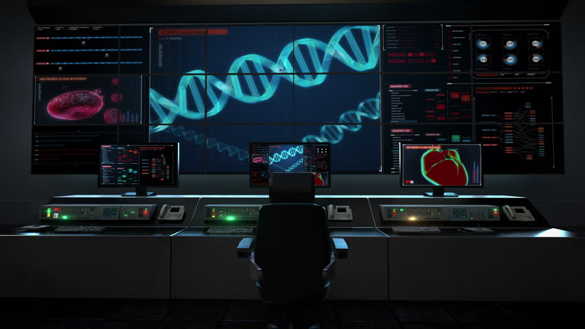 Dynamic cells multiplying futuristic medical software for Futuristic control room