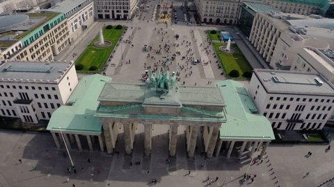 Aerial drone shot of Brandenburg Gate and Berlin