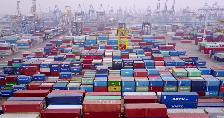 JAKARTA, Indonesia. July 10, 2017: Aerial view footage of containers terminal at Tanjung Priok port in misty morning. Shot in 4k resolution | Shutterstock HD Video #29074342