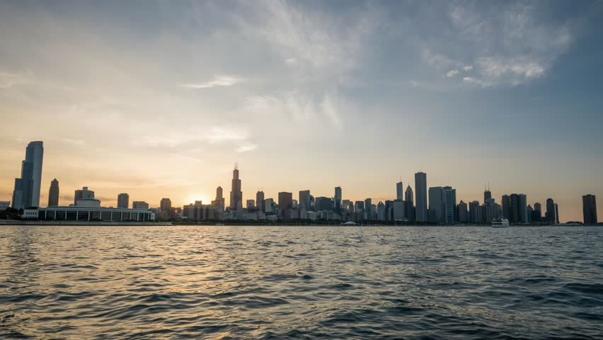 4K Sunset Timelapse of Chicago Skyline waterfront