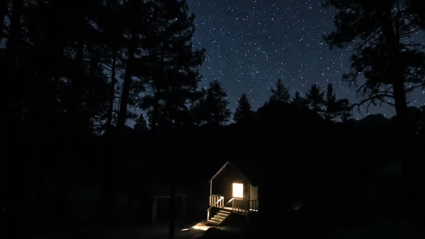 Time Lapse Of House On The Woods Under Night Stars Stock Footage Video 2911132