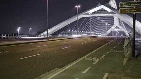 Timelapse on a bridge in zaragoza in 2015