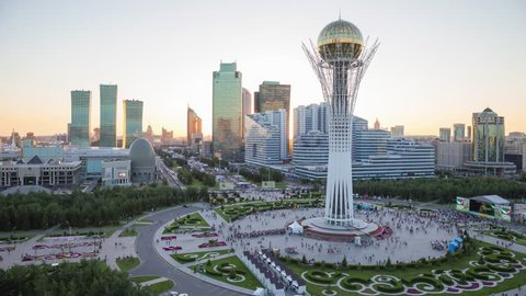 ASTANA JULY 2017:  From day to night view of the Baiterek monument
