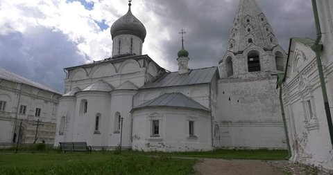 4K video footage view of medieval beautiful Pereslavl-Zalesskiy Svyato-Troicki Danilov monastery, churches, cathedrals and area around it, Golden Ring route, 120 km from Moscow, Russia on a Summer day.