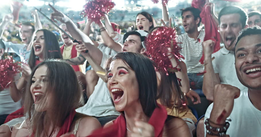 Group of fans watch a sport championship on stadium. People are dressed in casual cloth. | Shutterstock HD Video #29181112