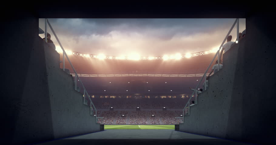 Footage of an empty dramatic soccer stadium. The stadium was made in 3d without using existing references. The crowd and light on the stadium are animated. | Shutterstock HD Video #29182732