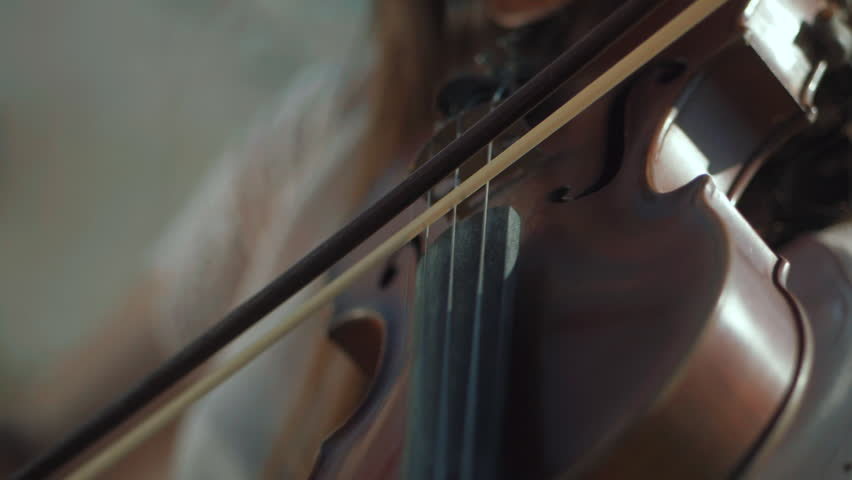 Girl violinist playing the violin outdoors. Green leaves backgound. Close up. Musician playing. Slow motion.