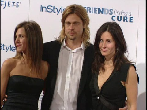 Beverly Hills, CA - APRIL 14, 2003: Jennifer Aniston, Brad Pitt, Courteney Cox, walks the red carpet at the ALS Gala 2003 held at the Beverly Wilshire Hotel