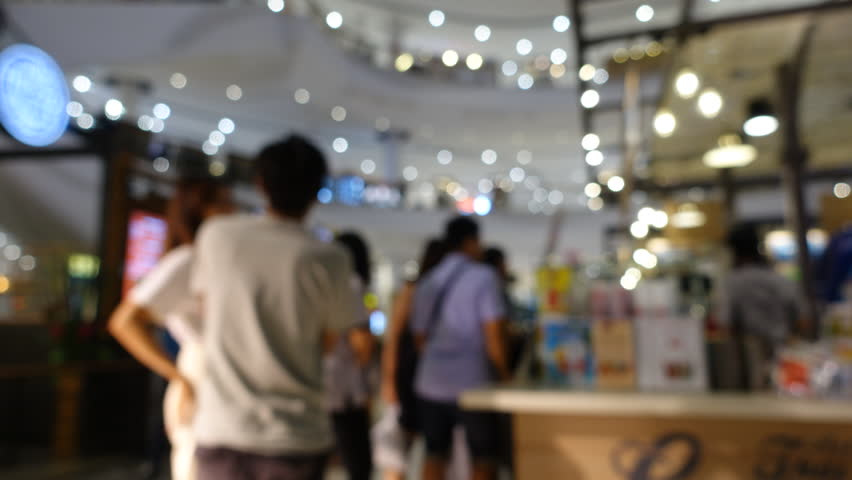 Timelapes. people buy soft-drink and cafe in queue in shopping mall abstract