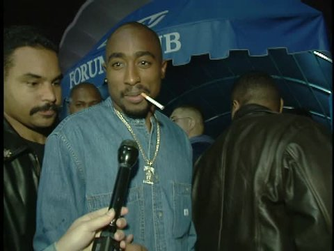 Inglewood, CA - FEBRUARY 02, 1996: Tupac Shakur, walks the red carpet at the Magics Back, Lakers Game 1996 held at the Great Western Forum
