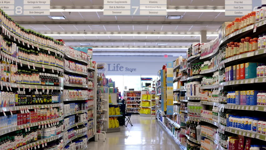 Coquitlam, BC, Canada - July 26, 2017 : Motion of display health foods section inside Shoppers drug mart store with 4k resolution