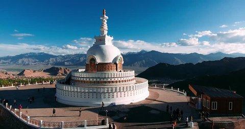 Amazing Shanti Stupa in Leh city - 4K.