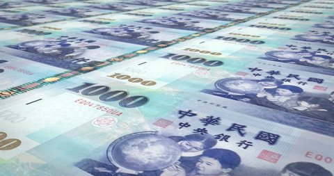 Banknotes of one thousand taiwanese dollars of Taiwan rolling, cash money, loop