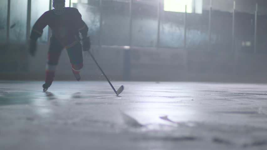 Hockey player skating and stopping abruptly. slo mo | Shutterstock HD Video #29327752