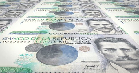Banknotes of twenty thousand colombian pesos of Colombia, cash money, loop
