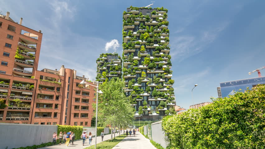 MILAN, ITALY - CIRCA 2017: Bosco Verticale (Vertical Forest), a pair of residential towers in the Porta Nuova district of Milan. The buildings were inaugurated in October 2014.