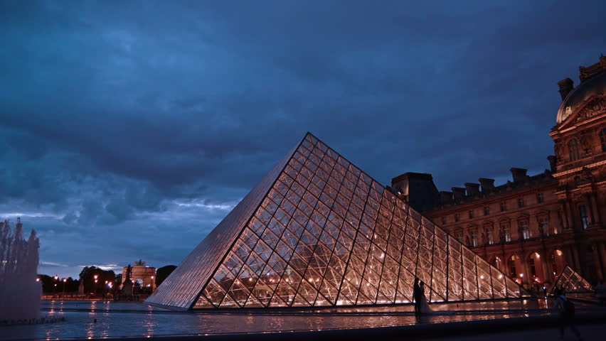Time lapse of Louvre at dusk.Paris, France | Shutterstock HD Video #29384542