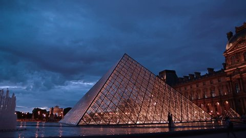 Time lapse of Louvre at dusk.Paris, France