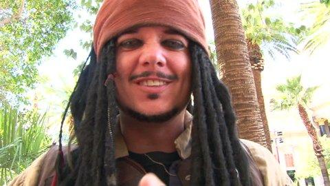 LAS VEGAS, NEVADA - CIRCA 2012 - Captain Jack Sparrow impersonator in Las Vegas performs for camera.