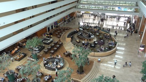 SINGAPORE - MAY 2017: Entrance lobby and restaurant in luxurious Marina Sands Bay resort hotel in Singapore