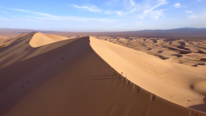 Gobi Desert, aerial view of Khongoryn Els Sand Dunes in South Mongolia.