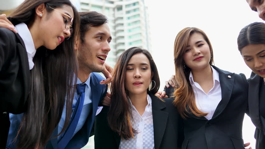Business, People, Advertisement concept - Jubilant Asian businessman and business team in outdoor meeting.  | Shutterstock HD Video #29432032
